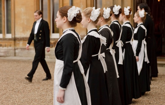 Maid: A general female domestic worker whose cheap job at Downton Abbey is to clean the interior rooms, add intrigue to the plot, and either be promoted to a better job or disappear from the show entirely. Seriously, maids don't last very long on this show for some reason.