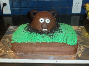 Now this cake groundhog seems to resemble a bear with buck teeth. Or one of those animals from Whack-A-Mole. Still, this should feed plenty of your guests.