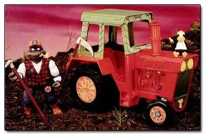 Comes with a scythe, pick, tractor, and wife-beater wearing crow. Still, why does Donatello have a corn cob pipe in his mouth? Aren't cartoon superheroes supposed to set a good example? Still, this is pretty lame.
