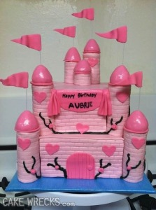 Then again, perhaps this cake isn't appropriate for Aubrie's birthday party and perhaps more suitable for her bachelorette party when she gets older. Seriously, there's just something phallic about those pink castle towers for some reason. Maybe the baker shouldn't have gone with cones.