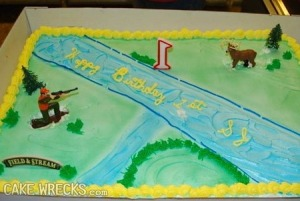 Sure the scenery may be pretty and S. J. won't remember a thing about this special day. But, c'mon, is a cake depicting the last moments of a buck's life an appropriate subject for a first birthday cake? Perhaps it would be better just to remove the hunter.