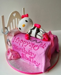 This is the kind of birthday cake you give to a woman who has a thing for Hello Kitty as well as the 50 Shades of Grey Trilogy. What would even be funnier would be if Hello Kitty was with a grey Tomcat in this one. Nevertheless, unlike some of the other cakes so far, this is at least age appropriate despite its disturbing implications.