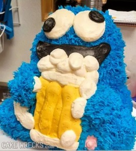 Sure cookies may not be nutritious snacks, but at least they're better for Cookie Monster to consume on a child's birthday cake than a swig of beer. Seriously, Cookie Monster's alcohol consumption really isn't making him a good role model on Sesame Street. Still, I kind of wish Cooke Monster would go back to eating cookies.