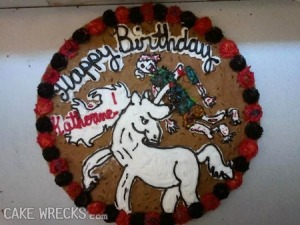 Still, while the other unicorn cake was probably accidental in the design, this one was probably done on purpose. I'm sure Katherine isn't a young girl in the least. Still, despite being traumatizing to kids, it's pretty funny.