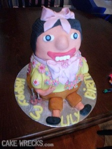 Okay, so this baker seems to have done the unthinkable. Make the adorable Dora the Explorer utterly terrifying through the motif of of Pre-Columbian art or just plain terrible artistry. Still, this cake is bound to give little Lily nightmares when she sees this. Jesus Christ.