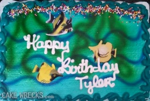 Nevertheless, if you present a cake like this to little Tyler it's very likely he's going to cry if he knows about fish corpses floating at the surface upside down. Seriously, unless the parents turn the fish around, this is a pretty sad birthday cake for children. I mean birthdays are supposed to be happy occasions, not reminding kids of death.