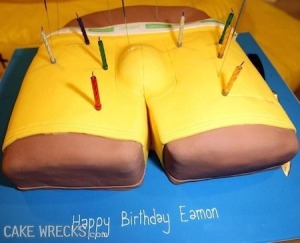 There's something rising from this cake's shorts. And as I can see it from the candles, Eamon is at least 8 years old. And a Joe Boxer cake is certainly not appropriate for a boy that age. Basically the boy's version of the boob cake. Seriously, what the hell were they thinking?