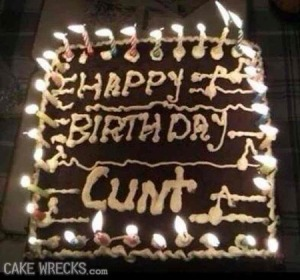 Okay, let's just hope this cake isn't at some party with the guest of honor surrounded by friends and family. Because that would be bad. And let's just say, this is about as inappropriate as they come.