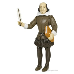 Comes with a quill and book of his compiled plays. Globe Theater and all-male acting troupe not included. If you're a girl, he may not think you're man enough to play Juliet since women weren't allowed on the English stage until King Charles II. Available in a ye Olde Elizabethan store near you.