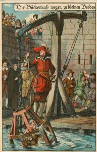 Oh, wait a minute that's another medieval torture device it seems. And it doesn't seem that they're weighing the caged guy against the duck either. Would've solved everything.