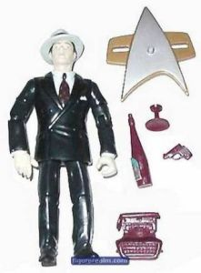 Seriously, why have an android in a 1920s gangster outfit with his own gun, glass, booze bottle, and typewriter? Did Next Generation have a 1920s Prohibition episode? I mean at least 1920s action figures of Kirk and Spock would make more sense.