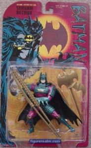 "From Amazon: ""The legendary figure of Batman existed in ancient Japan as Samurai Batman, a brave and strong warrior who pitted his skills against the evil warlords, or ""daimyo"". Armed with his powerful, slashing ""no-dachi"" sword and protected by a customized samurai armor costume, Samurai Batman swept across the countryside, cutting down villainy and protecting villages at every turn. On the battlefield, Samurai Batman could always be identified by his ""hata-jirushi"" banner which streamed behind him in every conflict, striking fear into the hearts of his opponents. Samurai Batman's glittering new metallic costume dazzles his opponents, allowing him precious seconds to strike! This red-carded repainted variant was only available in the Warner Brothers stores."" Really, protecting villages? I mean samurai were the ""daimyo"" lackeys for God's sake.  And they basically were no better than your standard medieval soldier in Europe. Still, I think ""Ninja Batman"" would make more sense since most Japanese ninjas were samurai anyway."