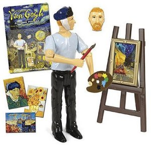 Comes with an easel, 4 paintings, a frame, pallet, paintbrush, and 2 detachable heads. One of the normal van Gogh and one after he cut off part of his ear. May suffer from malnutrition, violent mood swings, money problems, and suicidal tendencies. Available until he gets shot in an open field.