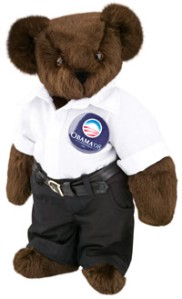 Yes, this is a Barack Obama Teddy Bear, and politics aside this is simply adorable and I'm astounded that this one didn't require a lot of accessories. Sure I think Obama is doing a decent job as president despite the circumstances but that's beside the point. Yet, will probably go a bit gray after a few years.