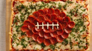Now I know that footballs are brown but I'm sure pepperoni will do. Also, despite that pepperoni contains lots of salt, this pizza is probably better for you than a lot of things.