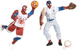 For one, Spiderman is supposed to be Peter Parker who is better known for getting bullied by jocks than actually be one. Secondly, if Spiderman played sports, he'd do it as Peter Parker without the suit on in the first place. Seriously, why do these figures even exist?