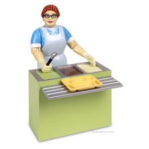 """Comes with lunch counter, scoop, food tray and 9 lunch stickers that includes fish sticks and jello. Yet, keep in mind that she possesses a secret superpower called, """"mystery meat."""""""
