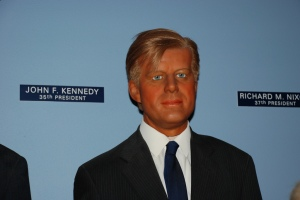 As not what your country can do for you--ask this wax museum why the 35th president of the United States looks like he's spent too much time in a tanning salon and why his hair looks so unnatural.