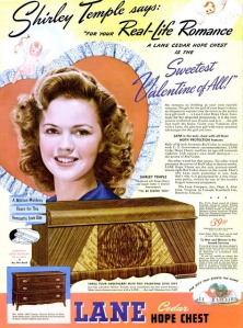 Of course, this is Shirley Temple as a teenager who could probably afford to get her own hope chest. Seriously, Valentine's Day isn't the kind of holiday to buy your loved ones furniture. Not to mention, these pieces of storage used to house an unmarried woman's dowry during the Middle Ages. Save that kind of present for Christmas.