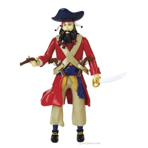 Of course, he comes with multiple guns and a big ass 17th century sword. Nevertheless, unlike the real Blackbeard, he doesn't set fire to his beard or shoot members of his crew (allegedly). Also, though not a nice man, his cruelty might be exaggerated for publicity's sake.