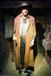 "Now I'm sure he's certainly angry. Still, though this is supposed to be Clint from Unforgiven, I don't think this waxwork resembles him. Yet, the ""Get Off My Lawn"" message is clear."