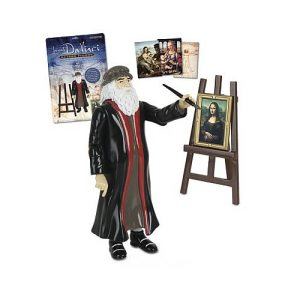 Comes with paintbrush, 4 paintings, frame, and easel. Last Supper, sketches, and inventions not included. Moves to France later in life. Not to mention, is gay and left-handed. Also was never involved in  secret organization that believed Jesus had a child with Mary Magdalene (sorry, Dan Brown).