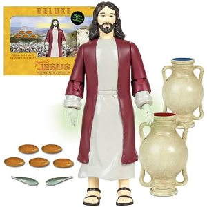 Comes with 2 loves of fishes, 5 loaves of bread, and a water jug that changes water into wine (not really). Cross and 12 apostles not included. Nevertheless, this is actually one of the better Jesus action figures I've seen so far.