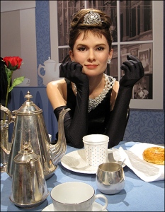 By the look at those sullen big brown eyes, you'd think Holly Golightly might have murder on the mind for George Peppard. Seriously, this wax figure seems to make Audrey Hepburn seem miscast for Breakfast at Tiffany's on account of being too sinister.
