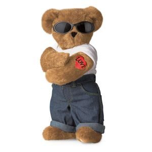 Of course, with his adorable Teddy Bear form, macho sunglasses, Love tattoo, and his bad boy poise, he's the kind of bear that's hard to resist.