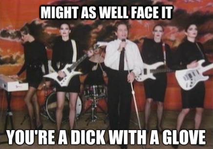 Either Robert Palmer is singing about falling in love or perhaps delivering a stealth insult to Michael Jackson as some hear.