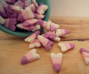 I know that this candy is probably home made. Yet, since it's a controversial candy for Halloween, I wouldn't risk making candy corn for Valentine's Day.