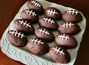 I think  what's under those footballs has to be cake, preferably chocolate cake. Still, I'll eat them.