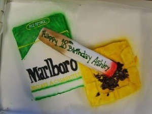 Seriously, just because a someone's able to buy cigarettes after they turn 18, doesn't mean a cigarette themed cake is a good idea. In fact, it's certainly not. I mean tobacco addiction is a worldwide health issue, which kills people every day from respiratory disease, cancer, COPD, emphysema.  and other wonderful chronic and life threatening ailments.