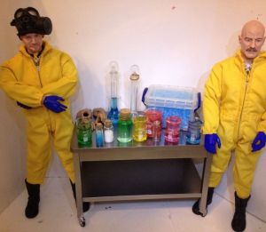 Walt and Jesse each come with gas masks and other accessories depending on season. Meth lab play set might be sold separately. Still, despite being toys, such play sets are made for adults. Nevertheless, some people would want this anyway.