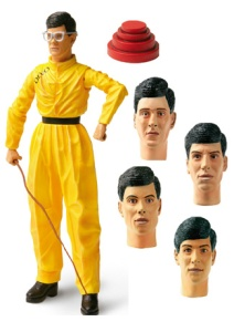 Yes, while many bands have action figures of all their members sold separately, Devo just has one body that uses the same heads of all its members. Comes with a whip and funny hat. Seriously, such pack arrangements are pretty crazy.