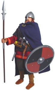 Comes with shield, sword, axe, dagger, and spear. Nevertheless, unlike what you'd see in popular media representations like on sports team logos and Wagner operas, this is more or less what Vikings actually looked like.
