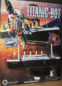 I have no idea why anyone would design this. Seriously, not only does it denigrate a terrible 1912 tragedy made into a Leonardo DiCaprio movie, but it kind of gives kids a false idea of history. I mean would anyone want 9/11 be diverted into a giant robot? How about the Hindenburg? Besides, this screams Dollar Store knock off. Yet I know that Michael Bay would definitely make a movie with Titanic-Bot if he could get away with it.