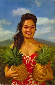 Talk about low hanging fruit hanging not far from the tree. Still, this is just bound to give Freud a field day. I mean why did this woman put the pineapples so close to her boobs? Really?