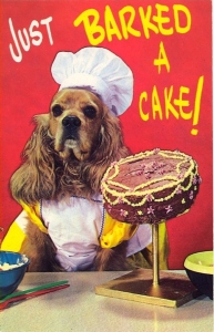 So how does a dog bark a cake? Makes no sense whatsoever. Guess those behind the design were aiming for cuteness. Also, what's in the cake? Hope it's not disgusting.