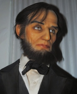 With his orange spray tan and his sinister gray eyes, it seems that the Great Emancipator has a score to settle. Seriously, this is basically the most evil Lincoln I've ever seen and his waxworks are usually not that bad.