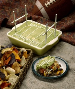 Of course, this person couldn't afford to build a snackadium so they just stuck with a guacamole dish instead. Nevertheless, pretty clever.