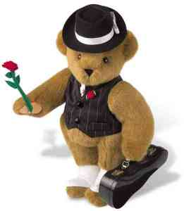 Of course, this gangster Teddy Bear always comes well dressed with his tailored pinstripe vest, tie, black fedora, a rose on his lapel, an his while spats above his paws. Still, for a killer, he's a cutie.