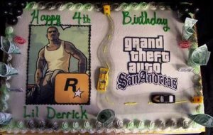 Unless it's a Grand Theft Auto cake for a 4-year-old. I mean that game is rated M for Mature due to violence and adult content. Seriously, this cake is not appropriate for a 4-year-old all. Nevertheless, what does a cake like this say about Lil' Derrick's parents for God's sake?