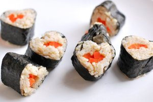Sure this sushi has carrots instead of raw fish. Yet, contrary to the common misconception, raw fish is actually optional for sushi. In fact, you can make sushi with just about anything as long as you wrap it in rice and seaweed.