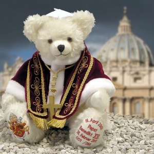 I'm not sure if a Pope Francis Teddy Bear exists but he's probably much cuter and cuddlier. Nevertheless, since former Pope Benedict XVI does have a few Teddy Bears of him, he'll have to do.
