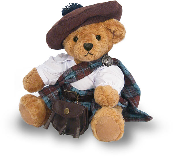 Of course, this adorable Highlander Bear doesn't come with bagpipes ...