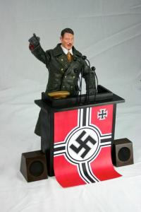 Comes with his own hat, Nazi podium, and speakers. Nazis and death camp not included. Still, I would never recommend anyone to get this guy since, well, you know he started WWII and orchestrated the Holocaust. Yet, it just amazes me that there's even a Hitler action figure available. Seriously, why?