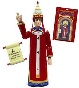 Comes with an intimidating scroll inscribed with Latin text, the power of excommunication, and a removable Pope hat. Sure he wasn't entirely innocent yet he'll make all your other action figures line up for confession. Still, you have to admit, he was instrumental in banning clergy from participating in trial by ordeal in 1215 which would eventually help discontinue its use. So Innocent III wasn't all bad.