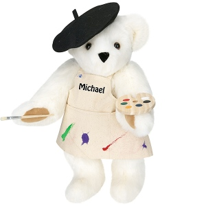 Now this might be a perfect Teddy Bear for my sister, who's an art major at VCU. Well, at least she started out as one. Nevertheless, you have to like seeing him with his little beret, paintbrush, and palette. Also, it seems like he's got a few stains on his little apron.
