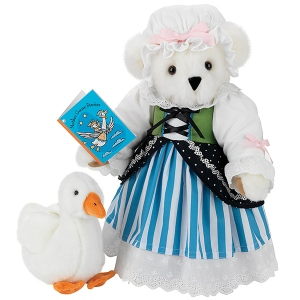 Now I'm sure this bear thinks the goose is delicious (well, a wild bear would). Still, you have to love her adorable 18th century dress and cap.